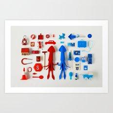Red Squid, Blue Squid Art Print