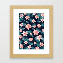 Tropical Flowers Palm Leaves Finesse #1 #tropical #decor #art #society6 Framed Art Print