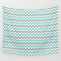Aqua Turquoise Blue and Grey Gray Chevron by decampstudios