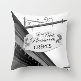 Les Crepes BW Throw Pillow