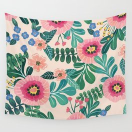 Colorful Tropical Vintage Flowers Abstract Wall Tapestry