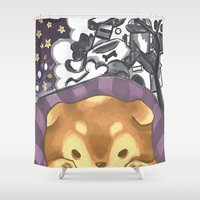shiba Shower Curtains featuring Shiba Dreams  by Sae Souki