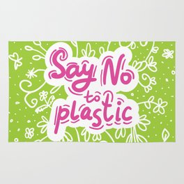 Say no to plastic.  Pollution problem, ecology banner poster. Rug