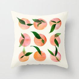 Abstract Orchard / Watercolor Fruit Throw Pillow