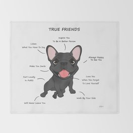 True Friends - Blue Frenchie Throw Blanket
