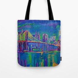New York City Night Lights - palette knife painting urban Brooklyn bridge skyline Tote Bag