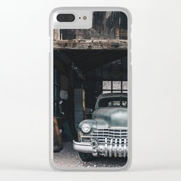 Old vintage car truck abandoned in the desert Clear iPhone Case