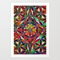 flower of life Art Prints featuring Flower of Life variation by Klara Acel