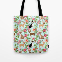 Chihuahua floral tropical hawaii floral hibiscus dog breed dogs pets Tote Bag