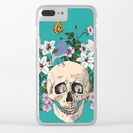 Skull drawing with flowers,bird and butterfly Clear iPhone Case