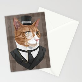 Intelligent Gentleman Cat in a Cylinder Hat and a Monocle Stationery Cards