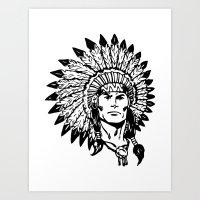 headdress Art Prints featuring Headdress by Gregg Deal
