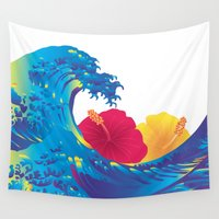 hokusai Wall Tapestries featuring Hokusai Rainbow & Hibiscus_YR by FACTORIE
