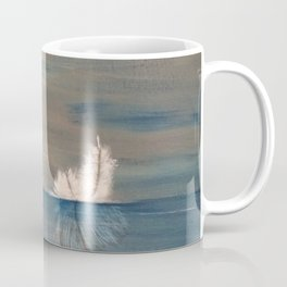 Floating Feather. Original Painting by Jodilynpaintings. Abstract Feather on Water. Coffee Mug