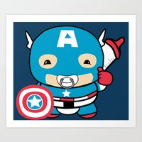 avenger Art Prints featuring Littlest Avenger by OneWeirdDude