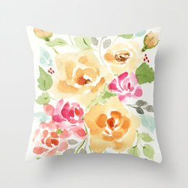 Suede Roses Throw Pillow