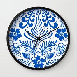 Mexican Folk Floral Ornaments Wall Clock