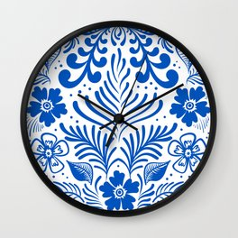 Mexican Folk Floral Ornaments Wall Clock