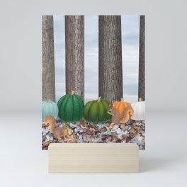 fox squirrels, heirloom pumpkins, & acorns Mini Art Print