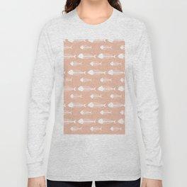 Soft Pink Fish Skeleton Pattern Design Long Sleeve T-shirt
