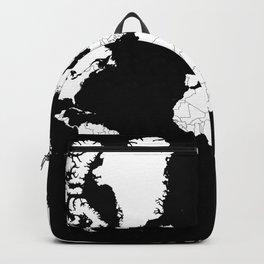 Minimalist World Map White on Black Background. Backpack