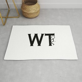 What The Fuck WTF Black Typography Humping Stickman Rug