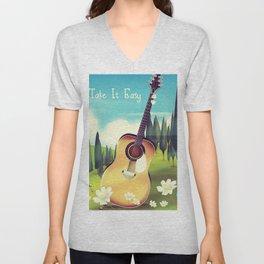 Take it Easy guitar poster. Unisex V-Neck