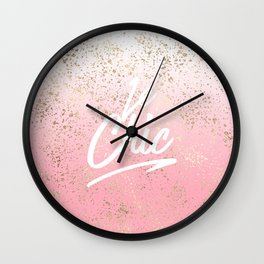 Le Chic French Quote Speckled Gold Flakes Wall Clock
