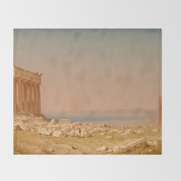 Ruins of the Parthenon Oil Painting by Sanford Robinson Gifford Throw Blanket