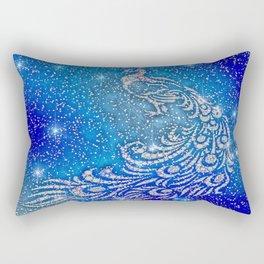 Sparkling Blue & White Peacock Rectangular Pillow