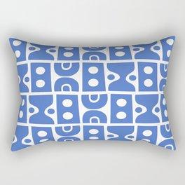 Funky Mid Century Modern Pattern Blue Rectangular Pillow