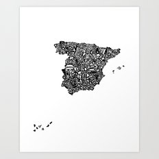 Typographic Spain map art print Art Print