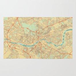 Newcastle upon Tyne Map Retro Rug