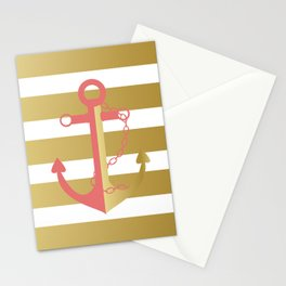 AFE Nautical Pink and Gold Anchor Stationery Cards