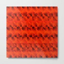Diagonal raised square grid with yellow intersecting rectangular triangles and highlights. Metal Print