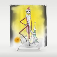 jack skellington Shower Curtains featuring Jack Skellington  by Future Illustrations- Artwork by Julie C