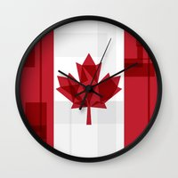 canada Wall Clocks featuring O Canada by Fimbis