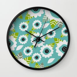 Abstract little flowers in blue Wall Clock