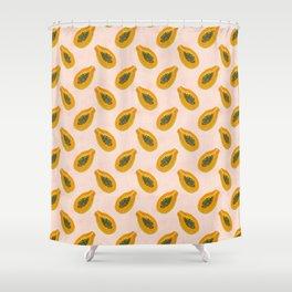 Papaya in sunset Shower Curtain