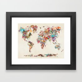 world map watercolor deux Framed Art Print