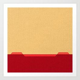 Dark coral red and Beige Line Art Print