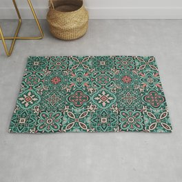Peranakan Art Nouveau Tiles (Mixed Patterns in Peach Garden) Rug