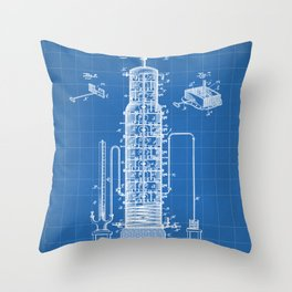 Whisky Patent - Whisky Still Art - Blueprint Throw Pillow