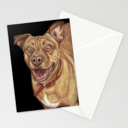 Pitbull Terrier Dog Painting Stationery Cards