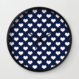 Navy Blue Love Hearts Minimal Wall Clock