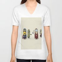minion V-neck T-shirts featuring Minion Avengers by CforCel