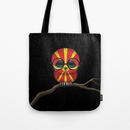 Baby Owl with Glasses and Macedonian Flag Tote Bag