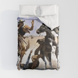 Frederic Remington - Aiding a Comrade - Digital Remastered Edition Comforters
