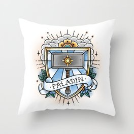 Paladin - Vintage D&D Tattoo Throw Pillow