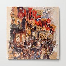 Vintage 1894 Bitter Campari Street Scene Advertisement by G. Mora Metal Print